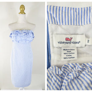 Vineyard Vines Striped Seersucker Strapless Dress